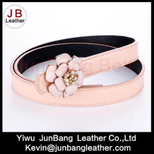 Women′s PU Rhinestone Belt with Flower Buckle pictures & photos