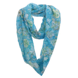 Lady Fashion Flower Printed Polyester Chiffon Infinity Summer Scarf (YKY1106) pictures & photos