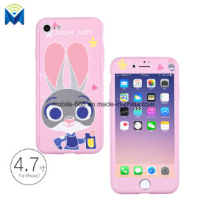 360 Degree Cartoon Full Body Case Cover for Apple iPhone 7 8 / Plus + Glass Film