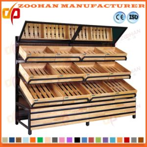 China Supermarket Wooden Rack Shelves Vegetable And Fruit Display