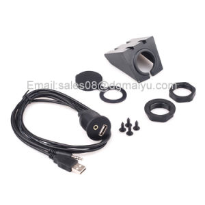 Car Dash Board Mount 3.5mm USB Aux in Input Socket Extension Lead Panel Cable 1m pictures & photos