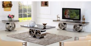 New Product Marble Top Dining Table Rose Gold Stainless Steel Base Sj916 pictures & photos