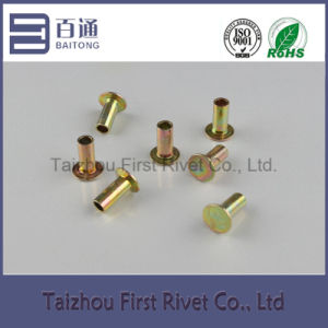L10 6.3X15.89 Yellow Zinc Plated Flat Head Semi Tubular Steel Rivet