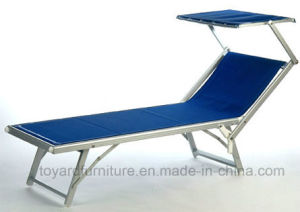 Outdoor Deluxe Aluminum Beach Yard Pool Folding Chaise Lounge Chair with Shade Recliner Outdoor Patio, Blue
