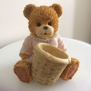 Teddy Bear Resin Ornament with Basket H16cm for Home Office Decoration Gift pictures & photos