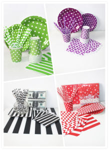 Colorful Paper Straw Napkin Plate with Different Designs for All Occasion pictures & photos