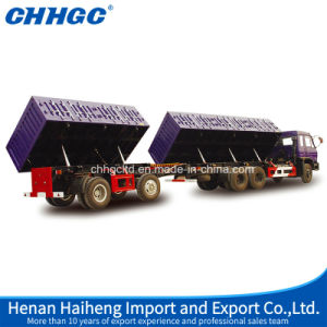Side Dump Sidewall Shape Full Trailers with Hydraulic System