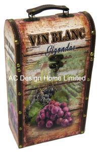 Decorative Grape Design Double Printing Pu Leather Mdf Wooden Storage Wine Box
