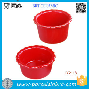 Wholesale Kitchenware Ceramic Red Pudding Mould Cookware pictures & photos