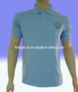 Light Blue Embroidery Pique Embroidered Polo Shirt pictures & photos