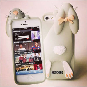 timeless design 79906 24d0d for Apple Silicone 3D Mobile Phone Moschino Rabbit Case for Christmas  Promotion
