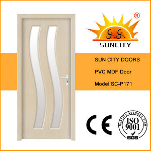 China New Toilet PVC MDF Glass Door Design (SC-P171) pictures & photos