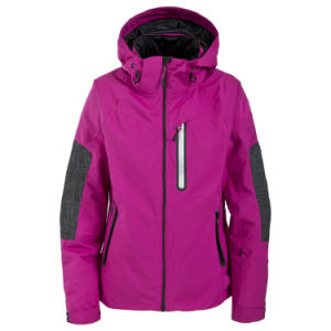 Two Colours Combination Womens Waterproof Breathable Padded Ski Jacket pictures & photos