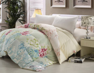 Printed Soft Cotton Fabric White Duck Down Comforter