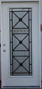 Unequal Double Steel Door with Decorative Tempered Glass Inserted pictures & photos