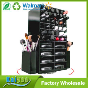 Lipstick Holder Slots, Brushes & 16 Powder Compact Cases Black Cosmetics Spinning Acrylic Makeup Organizer pictures & photos