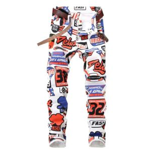 7ab751b6bb5 Popular Fashion Cheap Stretch Men′s Jeans White Letters Printing Men Slim  Fit Spandex Casual Denim Pants Letter Printed Plus Size Colored Trousers  Casual ...