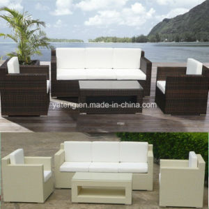 Outdoor Garden Furniture Flat Synthetic Pe Rattan Wicker Relax Sofa Set With 3 Seat Club Chair