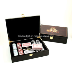 Poker Set with 200 Chips Lacquer Wood Box Games pictures & photos