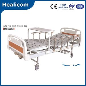 Medical Equipment Two Crank ABS Manual Hospital Bed pictures & photos