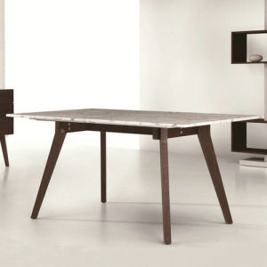 China Marble Top Dining Table With Veneer Solid Wood Leg A294