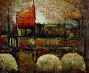 Abstract City Scape Oil Painting on Canvas (LH-270000) pictures & photos