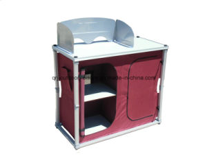Aluminum Quality Folding Portable Double Door Camp Kitchen Table with Windscreen (QRJ-T-004)