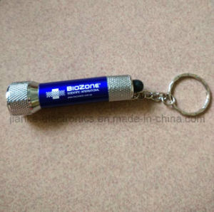 Blue LED Promotional Flashlight Torch Keychains with Logo Printed (4070)