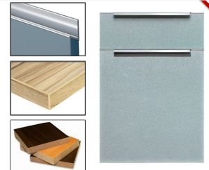 Plywood Glossy Melamine Kitchen Cabinet Doors with Edge Banding (zhuv) pictures & photos