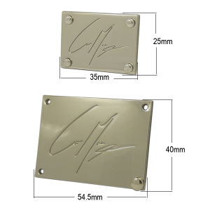 Custom Silver Four Holes Metal Label with Rivets for Handbag pictures & photos