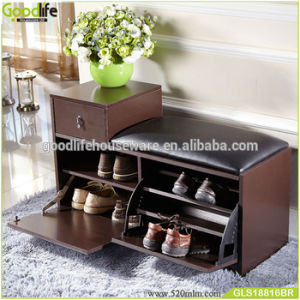 China Entryway Wooden Shoe Cabinet Closet Storage Rack Pu Seat Bench