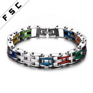 Fashion Multicolor Silicone Anium Bike Pave Chain Link Bracelet For Men