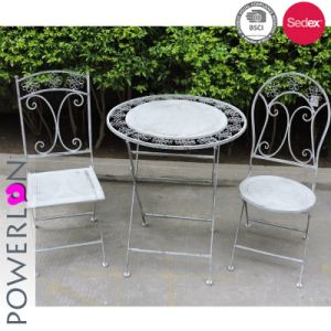 Admirable Europe Hot Sale Antique Grey Set Of 3 Foldable Bistro Table Set Bralicious Painted Fabric Chair Ideas Braliciousco