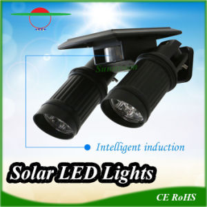 High-Quality Adjustable LED Solar Spotlight Outdoor Wall Light New-Style Double-Arms pictures & photos