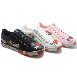 Sole Printing Flower Inwrought Vulcanization Rubber Women Shoes pictures & photos