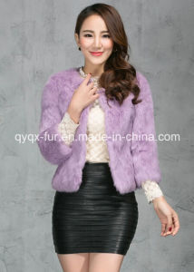 Women′s 100% Rabbit Fur Short Coat Sweet Princess Style