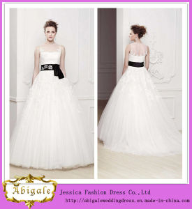 New Hot Tulle Appliques Scoop Lace Black Sash Sweep Train Famous Designer Wedding Dresses Bridal Gowns Yj0008