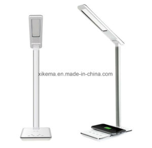 Multifunction Unique Table LED Lamp and Qi Wireless Charging Pad Charger for Mobile Phones with Portable Foldable Lamp