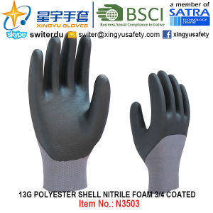 13G Polyester Shell Foam Nitrile 3/4 Coated Gloves (N3503) with CE, En388, En420, Work Gloves pictures & photos