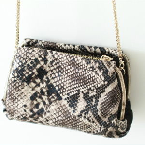 Python-Printed Leather Clutch, Designer Fashion Evening Bags