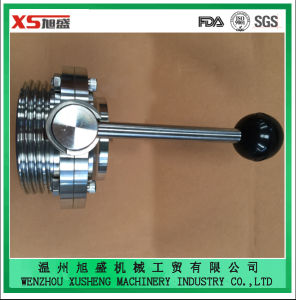DIN Standard Stainless Steel Ss304 Sanitary Weld Thread Butterfly Valves pictures & photos
