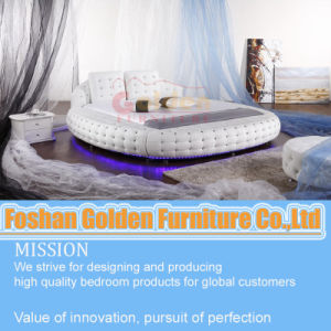 Luxury Round Bed with Crystal and LED Light pictures & photos