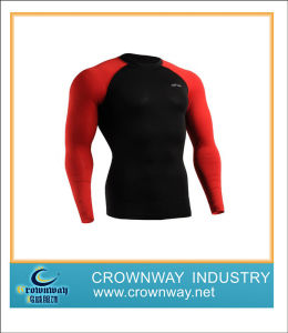 Breathable Men Compression Wear with Red Sleeve pictures & photos