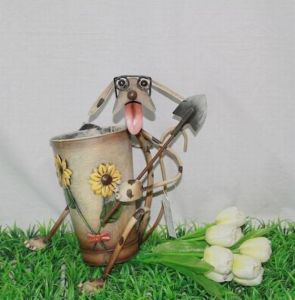 Garden Metal Dog Flower Pot (JW11015)