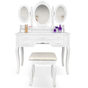 China 3 Spiegel Frisierkommode Frisiertisch Kosmetiktisch Hocker