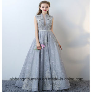 f133cde307d Elegant Sleeveless Prom Gown with Collar Applique Halter Evening Dress