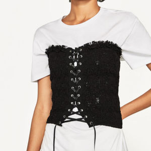 Ladies Fashion Spandex Lace Bandage Corset Blouse pictures & photos
