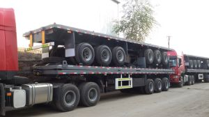 3 Axles 40 Feet Container Flat Bed Semi Trailer pictures & photos