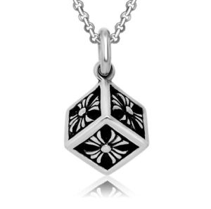 Titanium Steel Cube Necklace Pendant Men Fashion Jewelry