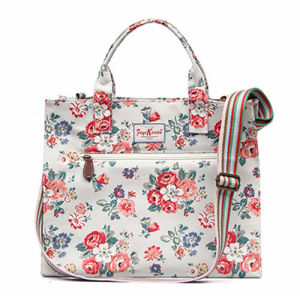 Beige PVC Canvas Floral Patterns Lady Handbag (592987S-2)